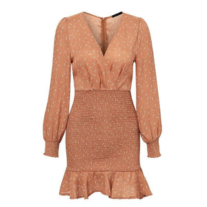 Sexy v-neck Pleated Vintage Mini Long Sleeve Dress