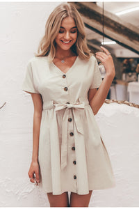 Vintage Button V-neck Short Sleeve Dress