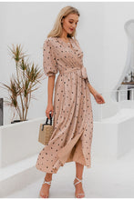 Load image into Gallery viewer, Polka Dot Wrap Elegant Puff Sleeve Vintage Dress