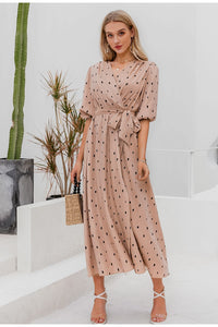 Polka Dot Wrap Elegant Puff Sleeve Vintage Dress