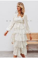 Load image into Gallery viewer, Polka Dot Elegant Long Sleeve Ruffled Vintage Dress