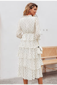 Polka Dot Elegant Long Sleeve Ruffled Vintage Dress