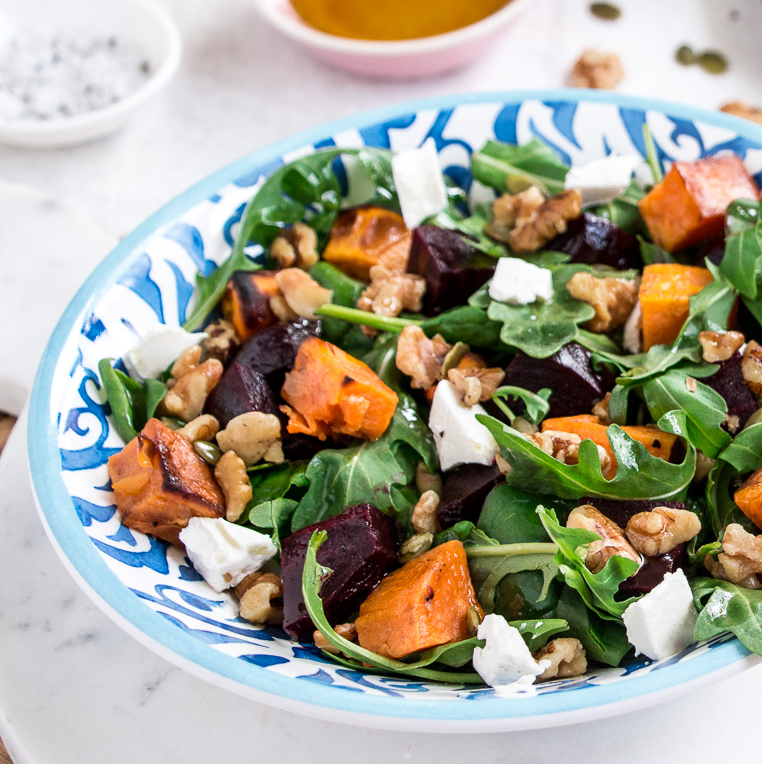 Pumpkin, Beetroot and Feta Salad with Roasted Walnuts