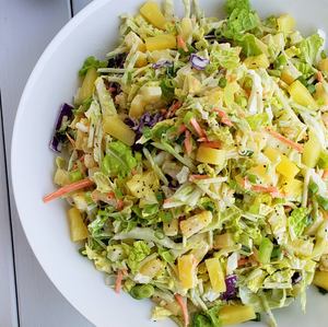 Summer Coleslaw Salad with Grilled Pineapple and Roasted Seeds
