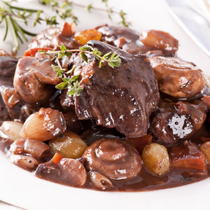 Beef Bourguignon with Streaky Bacon & Mushrooms in Red Wine Jus (1kg - 3-4 Serves)