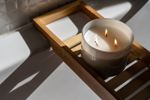 Candle on Wooden Tray Self Care Checklist
