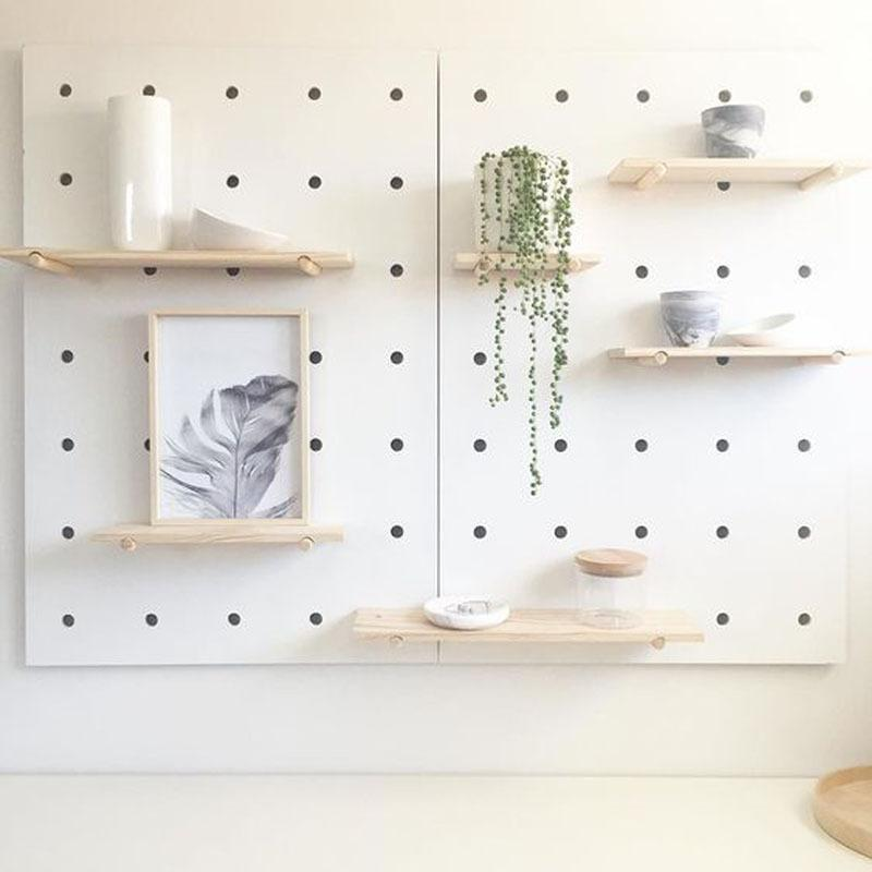DIY wall creative round hole plate storage rack