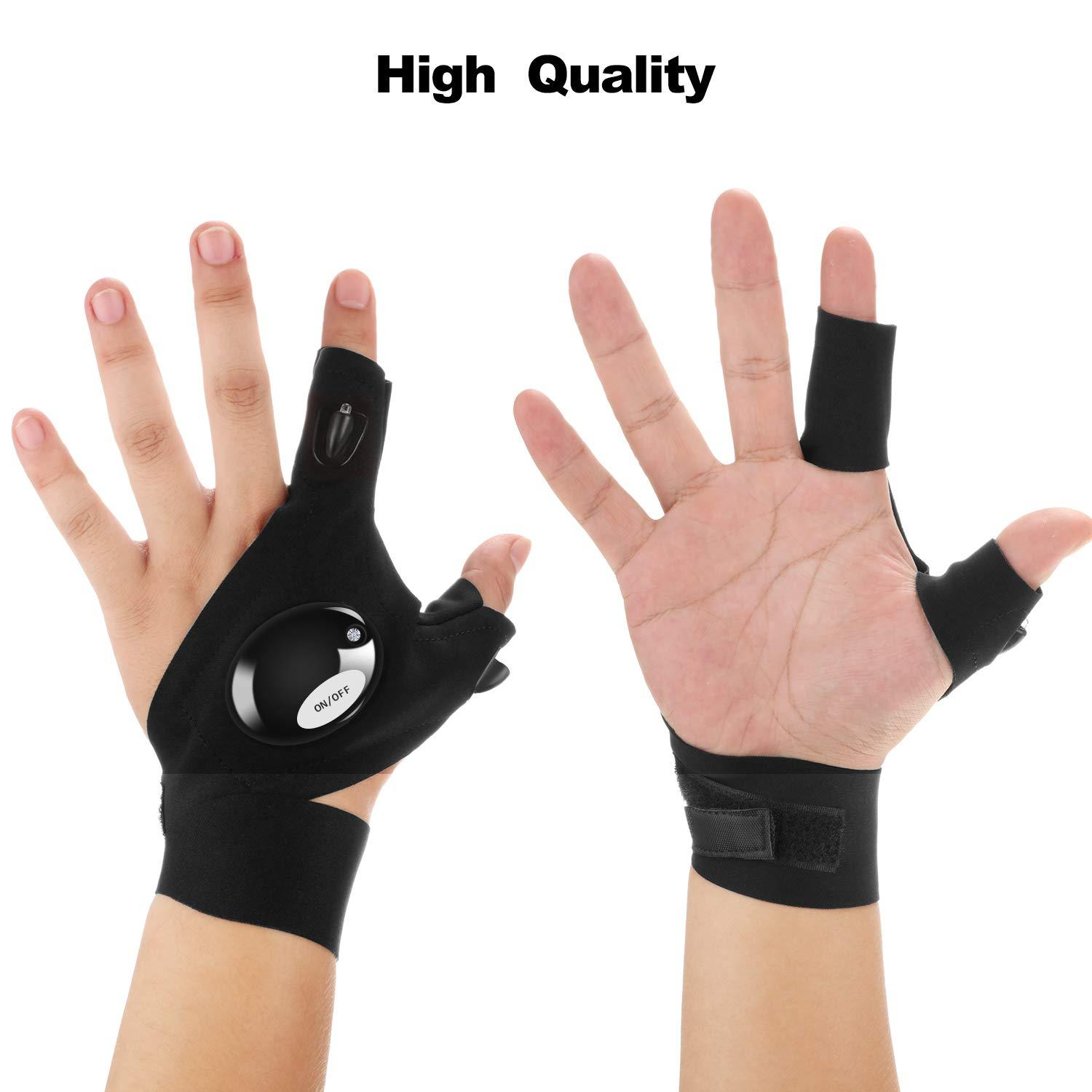 Night Light Waterproof Fishing with LED Flashlight Tools Durable Fingerless Gloves