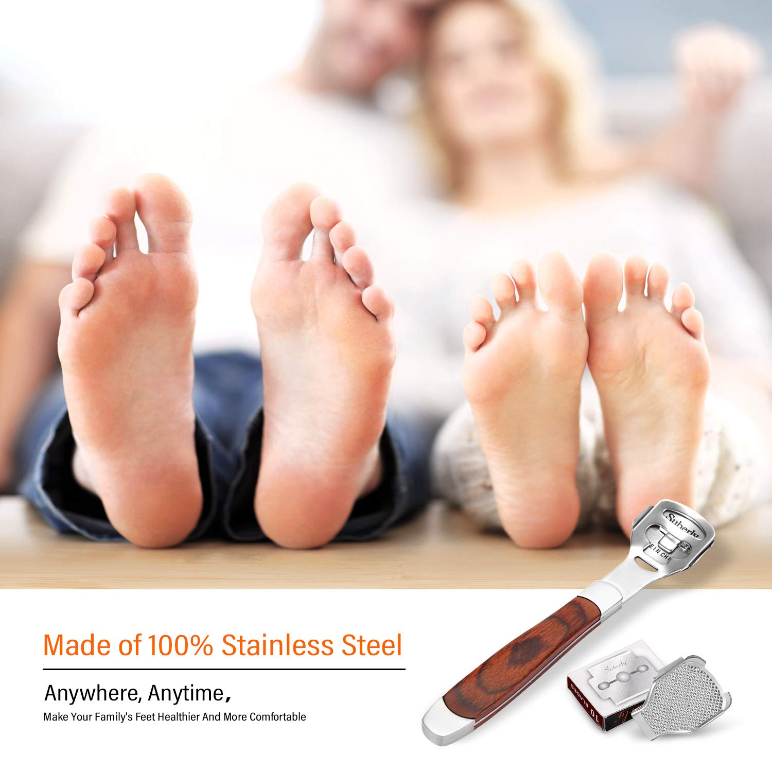 Stainless steel tool for removing hard skin from heel (10 blades)