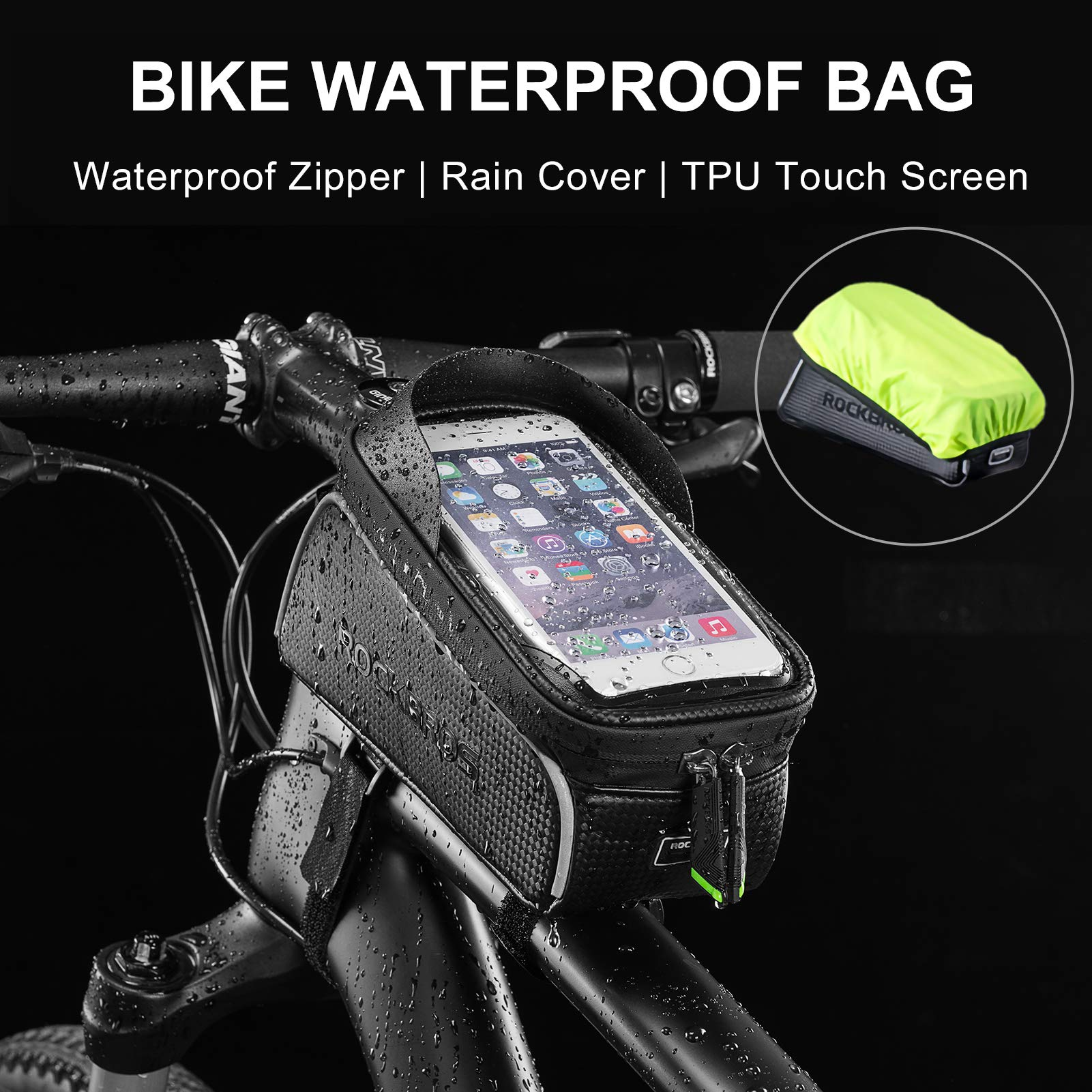 Bicycle waterproof frame mobile phone bag holder