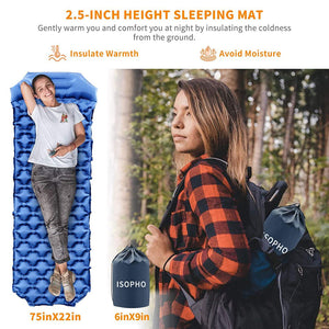 Portable lightweight inflatable sleeping pad