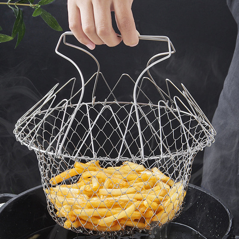 Stainless steel foldable frying basket