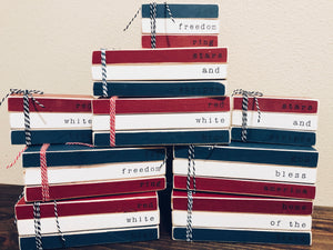 Fourth of July Wooden Book Stacks