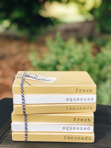 Lemonade Wooden Book Stacks