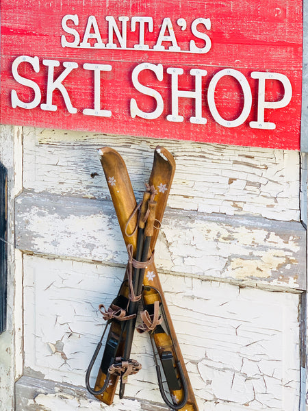 Mini Replica Wooden Ski Decor