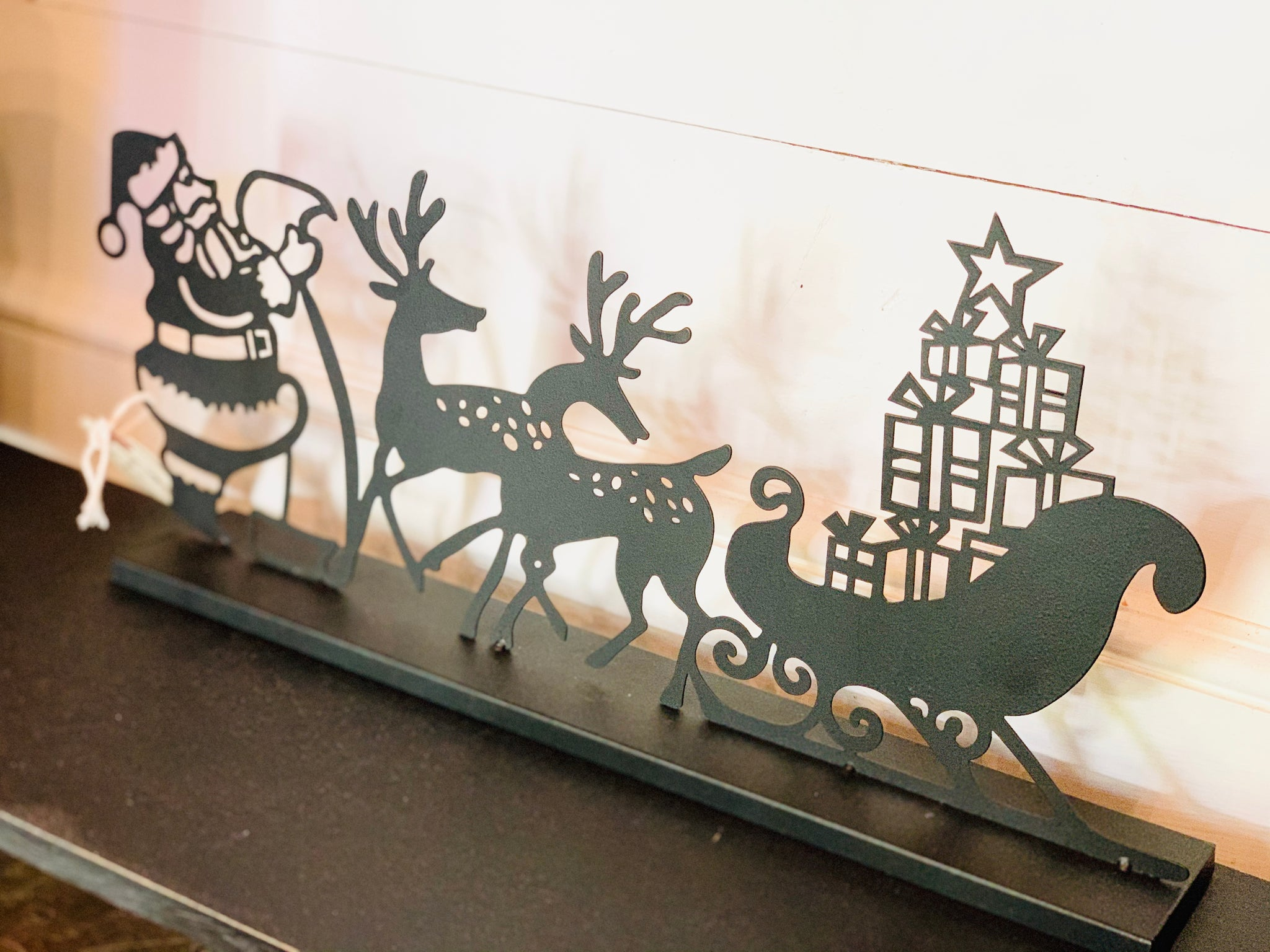 Metal Santa and Reindeer Silhouette