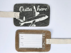 Outta here luggage tag