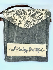 """make today beautiful"" crossbody bag"