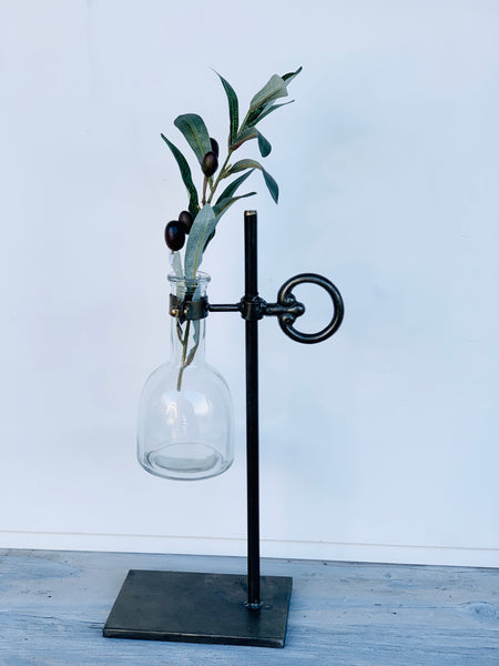 Stem Vase with Metal Stand