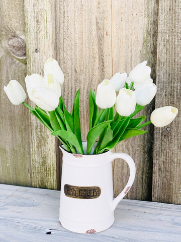 Fresh Flowers Ceramic Pitcher