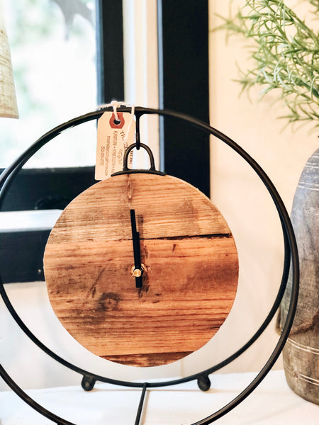 Round Iron and Wood Clock