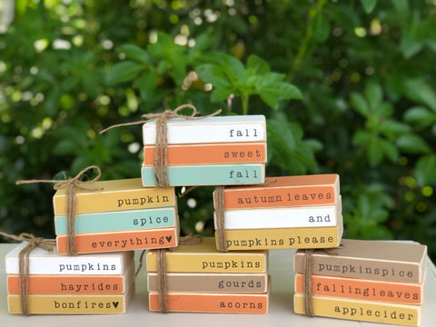 Fall Wooden Book Stacks