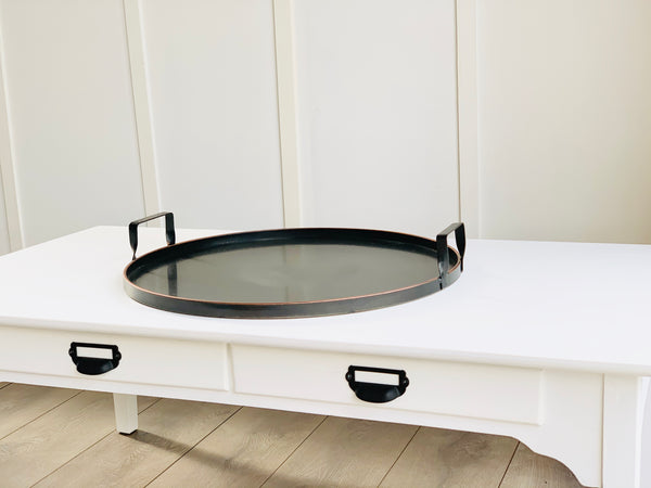 Round Metal Trays with Handle