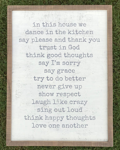 """In this House..."" Wood Sign"