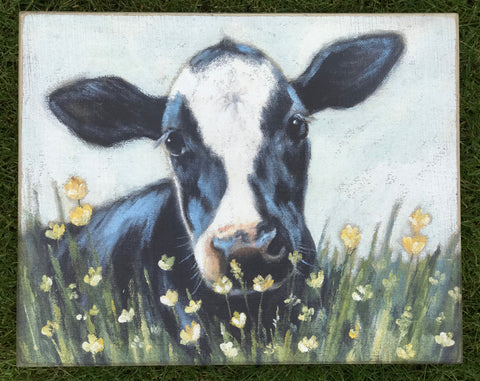 Cow Picture with Flowers