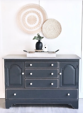 Black Buffet w/grey stained top