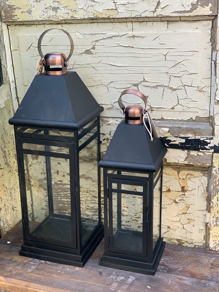 Black and Brass Lantern~Two Sizes