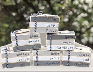 Gray and White Mini Wooden Book Stacks