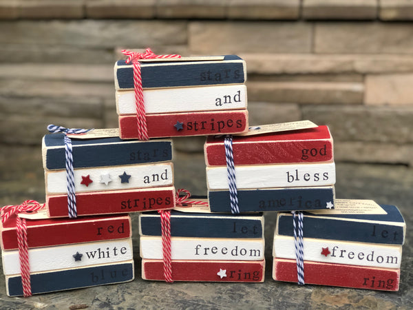 Fourth of July Mini Wooden Book Stacks