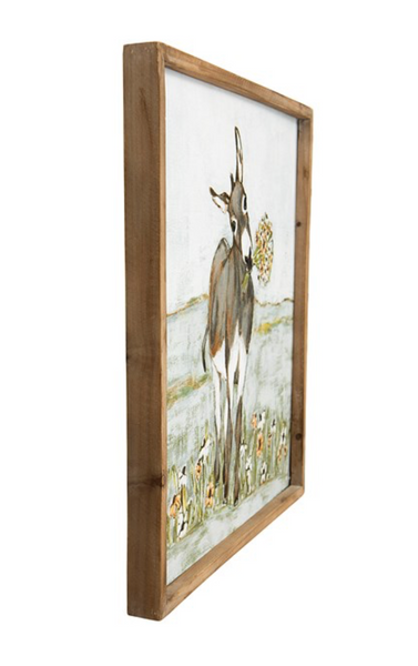 Wood Framed Donkey Picture~New