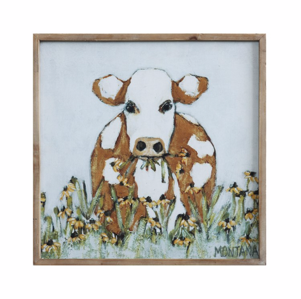 Wood Framed Cow Picture~New