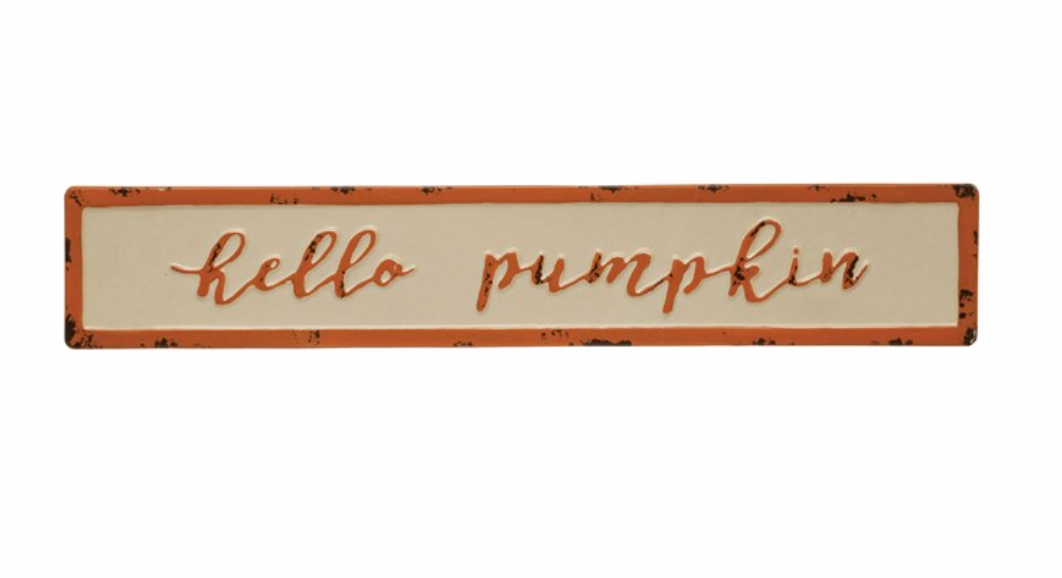 "Enamel ""Hello Pumpkin"" Sign"