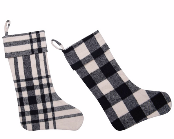 Set of Two Plaid Stockings