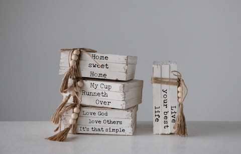 Decorative Wood Books w/ Sentiment