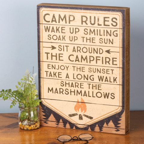 Camp Rules Box Sign
