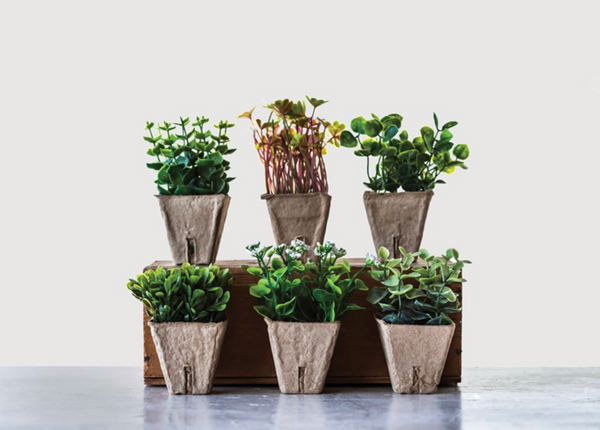 Set of 6 Faux Potted Plants
