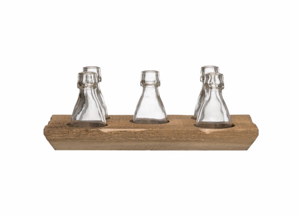 Wood Tray w/ Glass Bottle Vases