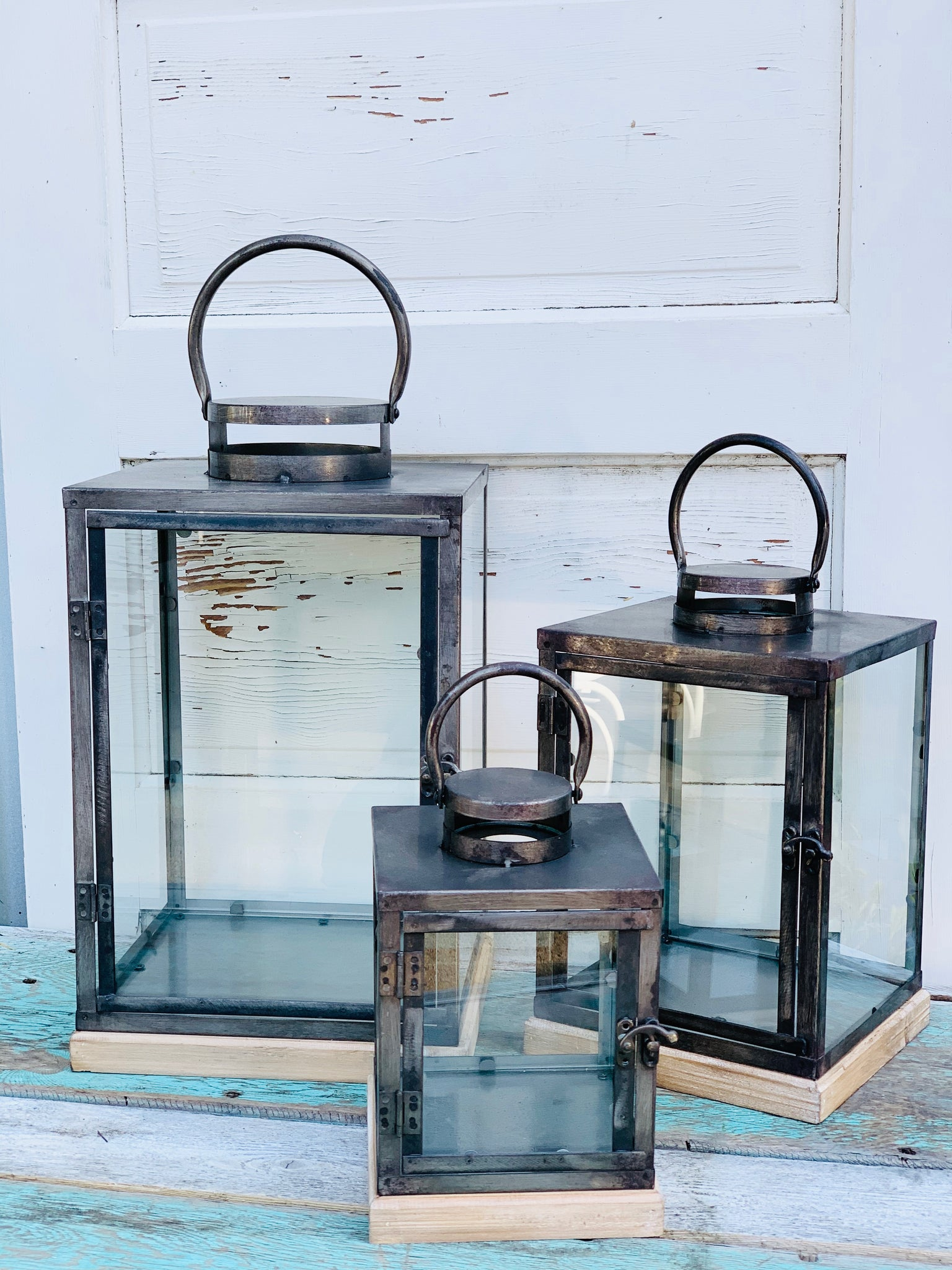 Metal, Glass, & Wood Lantern~3 Sizes