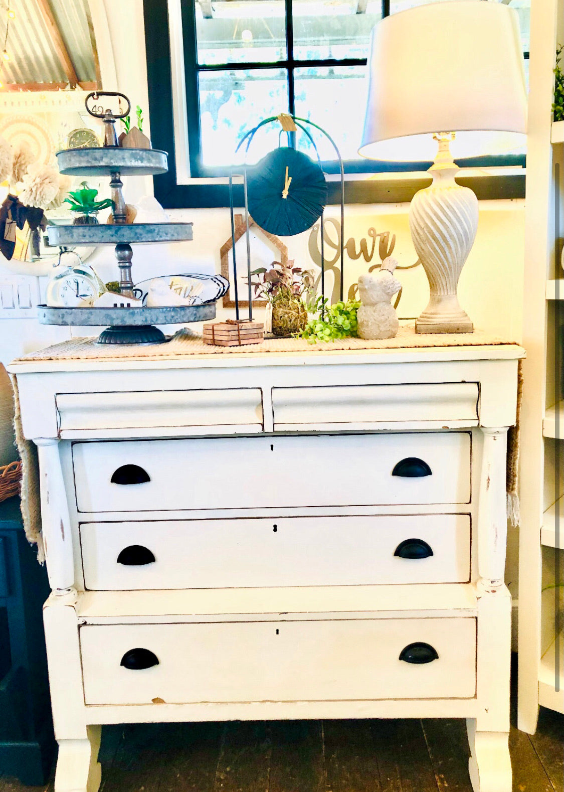 Cottage White Antique Dresser