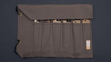 Load image into Gallery viewer, HI-CONDITION HANPU CANVAS 6 POCKETS KNIFE ROLL DARK GREY(Cotton Carry Bag included)