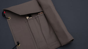 HI-CONDITION HANPU CANVAS 6 POCKETS KNIFE ROLL DARK GREY(Cotton Carry Bag included)