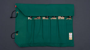 HI-CONDITION HANPU CANVAS 6 POCKETS KNIFE ROLL GREEN (Cotton Carry Bag included)