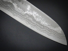 Load image into Gallery viewer, HITOHIRA AOGAMI 2 DAMASCUS SANTOKU KNIFE ROSEWOOD HANDLE 165mm