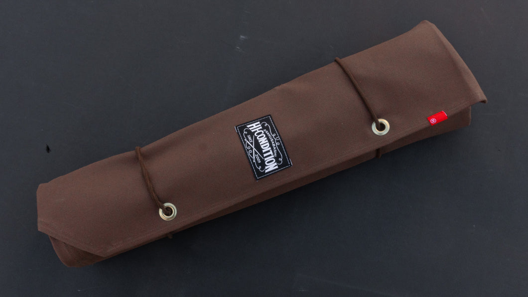 HI-CONDITION HANPU CANVAS 6 POCKETS KNIFE ROLL BROWN (Cotton Carry Bag included)
