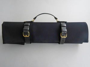 KATABA HANDMADE HEAVYWEIGHT CANVAS KNIFE ROLL WITH LEATHER FITTINGS