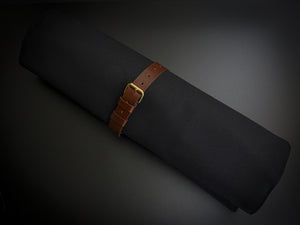 KATABA HANDMADE HIGH QUALITY BLACK CANVAS KNIFE ROLL WITH SINGLE LEATHER FITTINGS